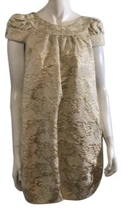 Vera Wang Lavender Label short dress beige and gold flowers on Tradesy