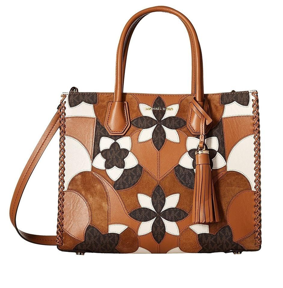 10c0053dfacd Michael Kors Patchwrk Large Mercer Leather Suede Convertible Tote in Acorn  Image 0 ...