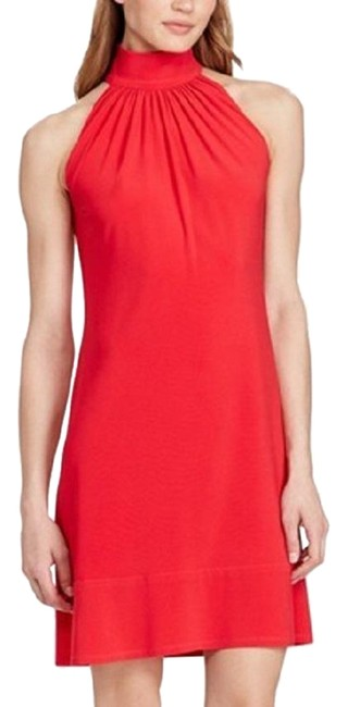 American Living Coral Mock Neck Short Casual Dress Size 18 (XL, Plus 0x) American Living Coral Mock Neck Short Casual Dress Size 18 (XL, Plus 0x) Image 1