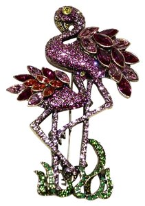 "Heidi Daus HEIDI DAUS ""Shore Thing"" Flamingo Party Swarovski Crystal Brooch Pin"