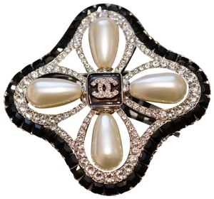 Chanel Black/Clear Crystals Large Pearls with CC Logo Metal Brooch Pin