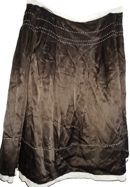 New Frontier Brown White Silk Gathered with Trim Skirt Size 4 (S, 27) New Frontier Brown White Silk Gathered with Trim Skirt Size 4 (S, 27) Image 1