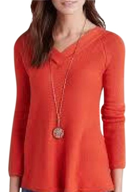 Anthropologie Double V Knitted Knotted Orange Sweater Anthropologie Double V Knitted Knotted Orange Sweater Image 1
