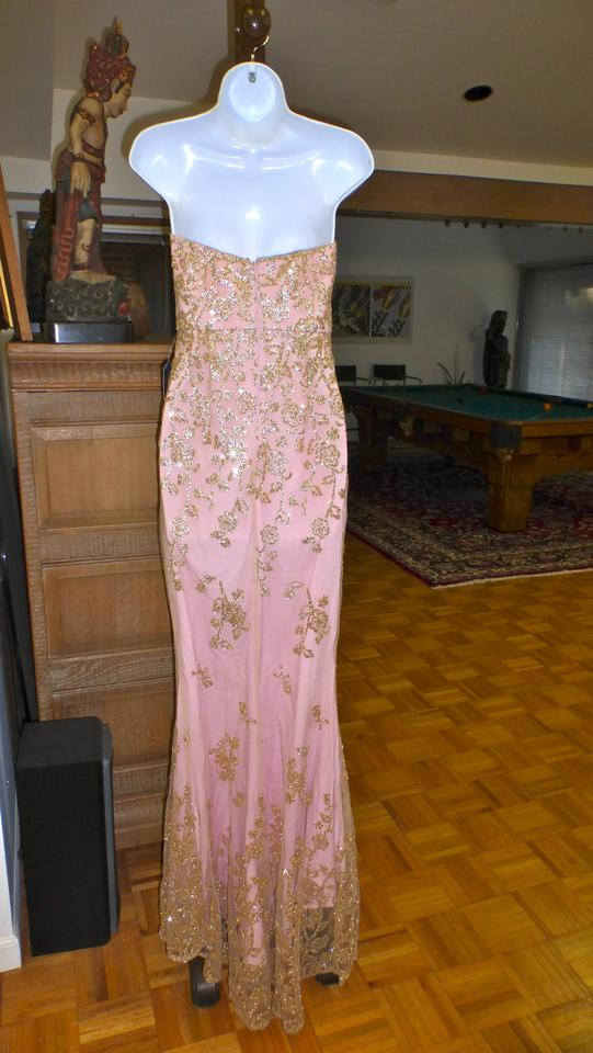 PromGirl Pink.gold Minuet Pink/Gold Strapless Mermade Gown Long ...