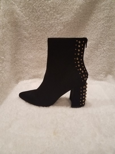 Kensie Studded Metallic Hardware Pointed Toe Black Boots Image 3