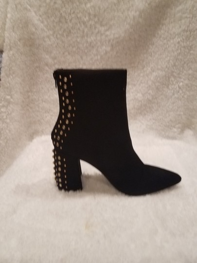 Kensie Studded Metallic Hardware Pointed Toe Black Boots Image 5