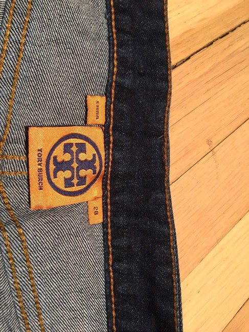 Tory Burch Dark Long Skinny Jeans-Dark Rinse Image 2