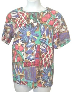 Sag Harbor Short Sleeve Rayon Career Casual Shirt Top Multi-Color