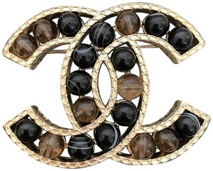 5d9357248 Chanel Classic Large Stones CC Logo Gold Tone Metal Brooch Pin