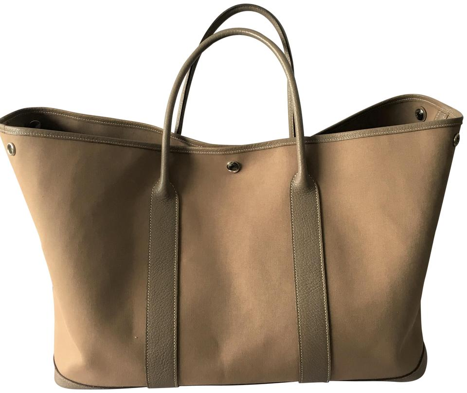 5992f7707d6a Hermès Garden Party Tan Leather and Canvas Tote - Tradesy