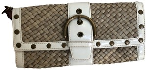 Coach White Patent and Natural Clutch