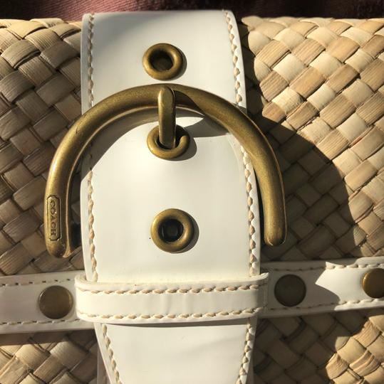 Coach White Patent and Natural Clutch Image 7