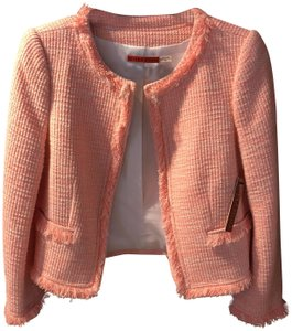 Alice + Olivia And Chanel Inspired Tweed Frayed Pink & White Blazer