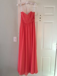 Jasmine Bridal Grapefruit (Coral) Polyester Chiffon Poly Floor Length Formal Bridesmaid/Mob Dress Size 6 (S)