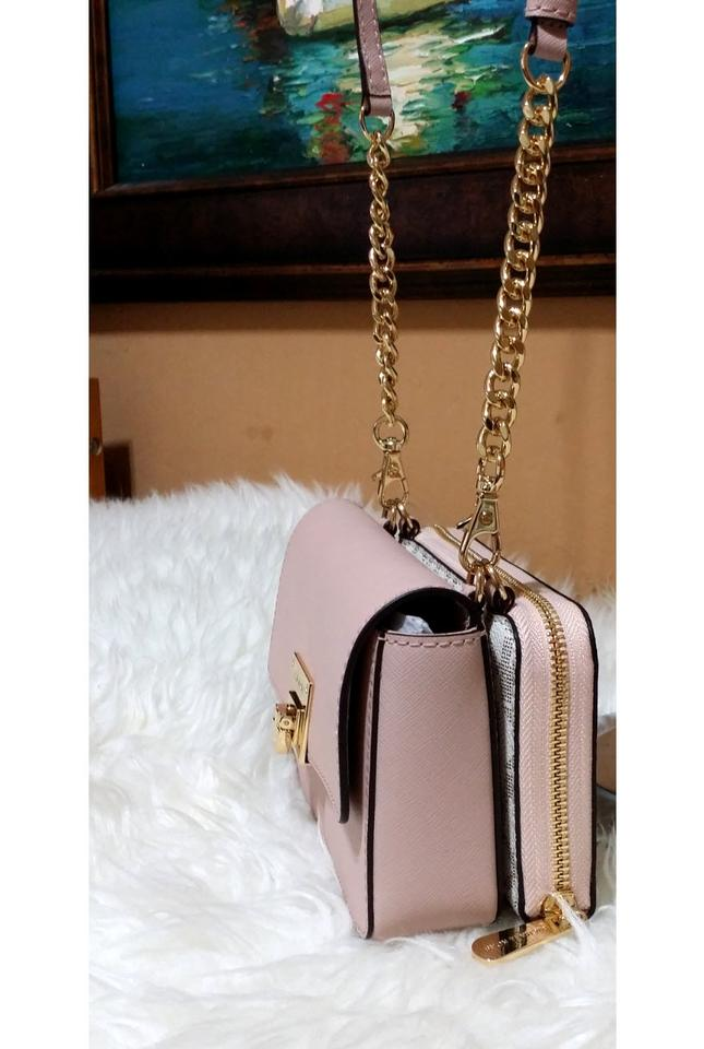 66dd5a4b385a Michael Kors Tina Wallet Clutch 2 In 1 Vanilla Pink Saffiano Leather.  Signature Pvc Cross Body Bag - Tradesy