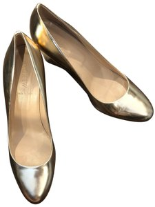 J.Crew Metallic Leather Made In Italy Gold Wedges