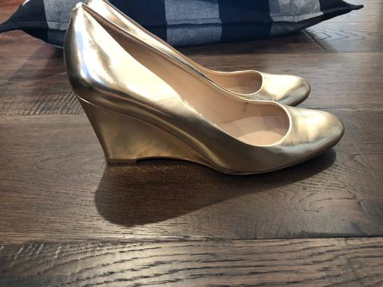 J.Crew Metallic Leather Made In Italy Gold Wedges Image 1