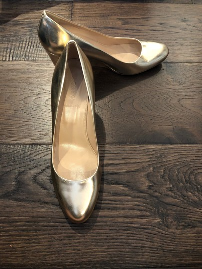 J.Crew Metallic Leather Made In Italy Gold Wedges Image 2