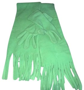Old Navy lime green scarf and small gloves
