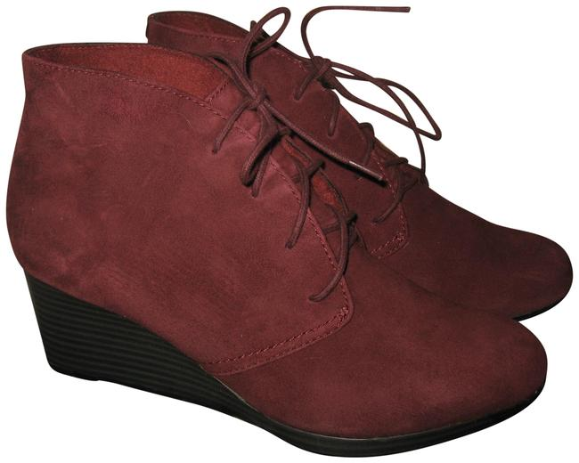 Clarks Wine Crystal Peri Wedge Suede Boots/Booties Size US 7 Regular (M, B) Clarks Wine Crystal Peri Wedge Suede Boots/Booties Size US 7 Regular (M, B) Image 1