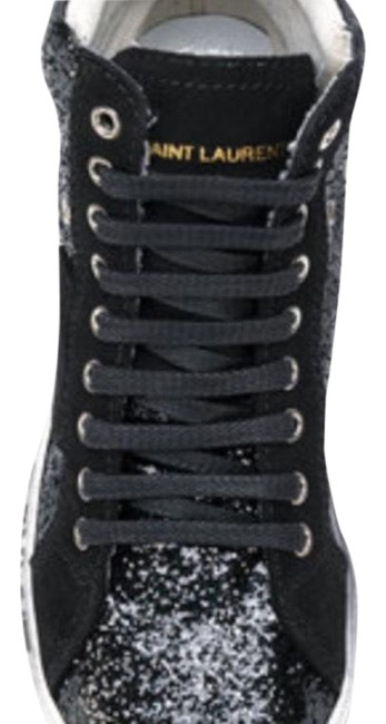 Black Leather and Black Glitter Sneakers Size US 8 Regular (M, B) Black Leather and Black Glitter Sneakers Size US 8 Regular (M, B) Image 1