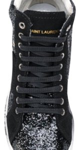 Saint Laurent Glitter Sneakers (sold out everywhere) black leather and black glitter Athletic