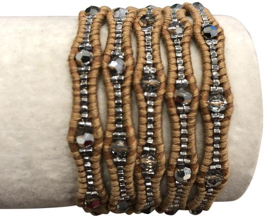 Chan Luu New Auth Chan Luu Crystal Cal Five Wrap Bracelet on Beige Leather Image 0