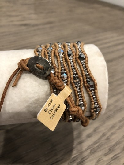 Chan Luu New Auth Chan Luu Crystal Cal Five Wrap Bracelet on Beige Leather Image 2