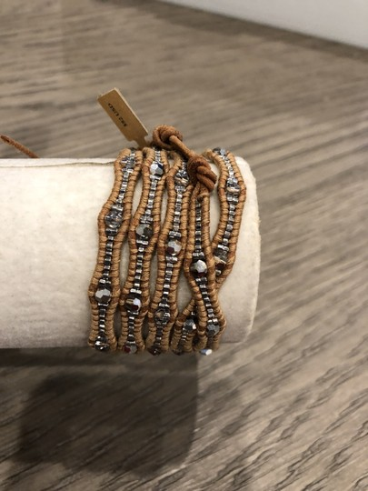 Chan Luu New Auth Chan Luu Crystal Cal Five Wrap Bracelet on Beige Leather Image 3