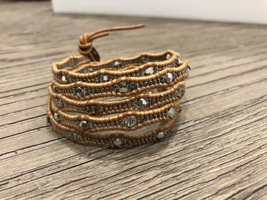 Chan Luu New Auth Chan Luu Crystal Cal Five Wrap Bracelet on Beige Leather Image 5