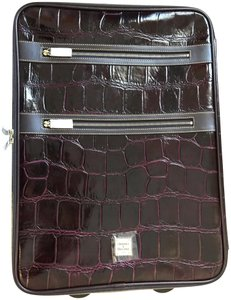 Dooney & Bourke Rolling Luggage Leather Suit Case Carry On Plum Travel Bag