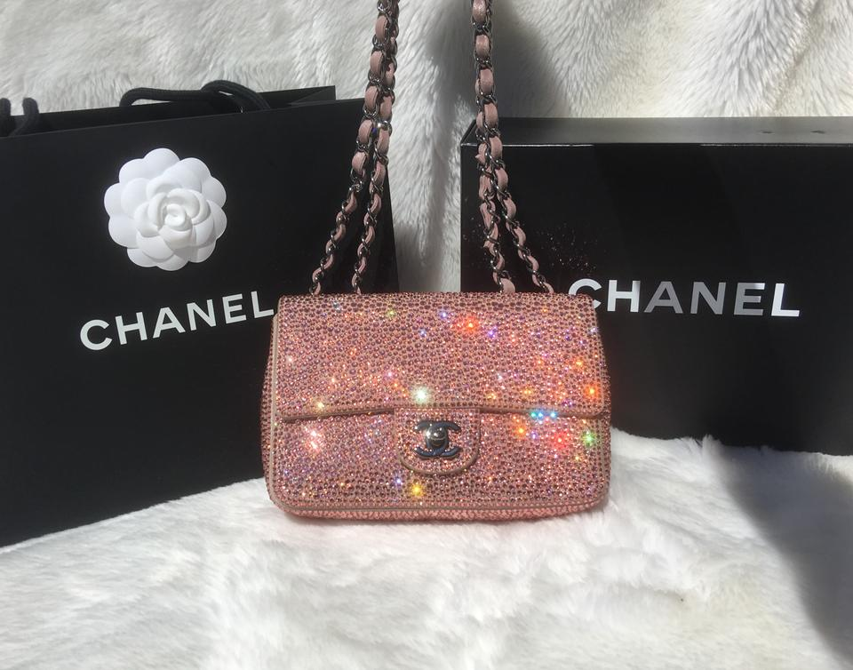 c6eccd059e19 Well known Chanel Classic Flap Spring 2015 Pink Swarovski Crystal/ Silver  VK64