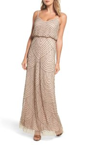 Adrianna Papell Taupe/Pink Embellished/Beaded Blouson Gown Feminine Bridesmaid/Mob Dress Size 2 (XS)