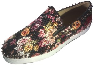 Christian Louboutin Pik Boat Quilted Floral Spike Studded Multi Flats