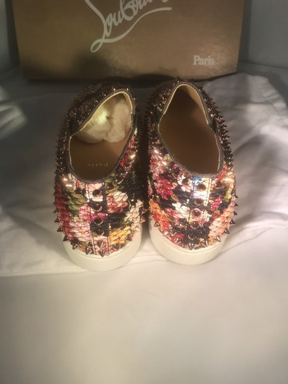 Christian Louboutin Pik Boat Quilted Floral Spike Studded Multi Flats Image 3