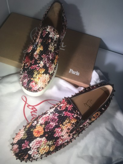 Christian Louboutin Pik Boat Quilted Floral Spike Studded Multi Flats Image 4