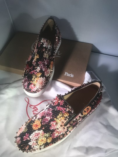 Christian Louboutin Pik Boat Quilted Floral Spike Studded Multi Flats Image 5