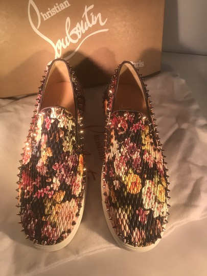 Christian Louboutin Pik Boat Quilted Floral Spike Studded Multi Flats Image 6