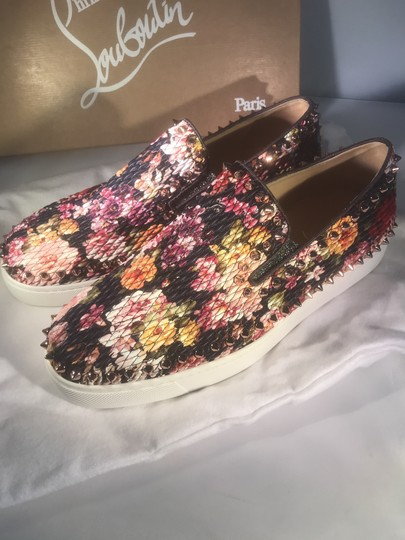 Christian Louboutin Pik Boat Quilted Floral Spike Studded Multi Flats Image 8