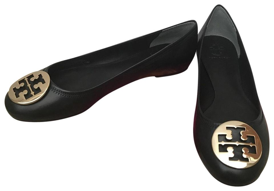 a23d26f70 Tory Burch Black   Gold 11m Reva Mestico Leather Ballet Flats Size ...