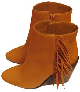 See by Chloé Leather Fringe Wedge Brown (Camel) Boots