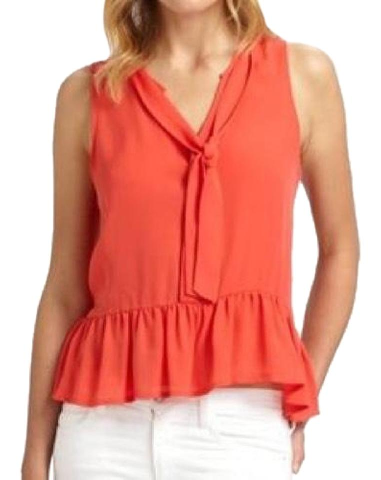 a30c5abef71a52 Joie Orange Coral Silk Sleeveless Tie Neck Blouse Size 4 (S) - Tradesy