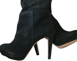 Ava & Aiden Suede Platform Over The Knee Black Boots