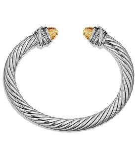 David Yurman David Yurman Crossover 925 St Silver Diamond Citrine 7mm Bracelet