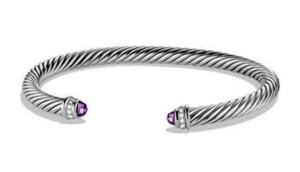 David Yurman David Yurman Silver Diamond Amethyst 925 Classic Cable 5mm Bracelet