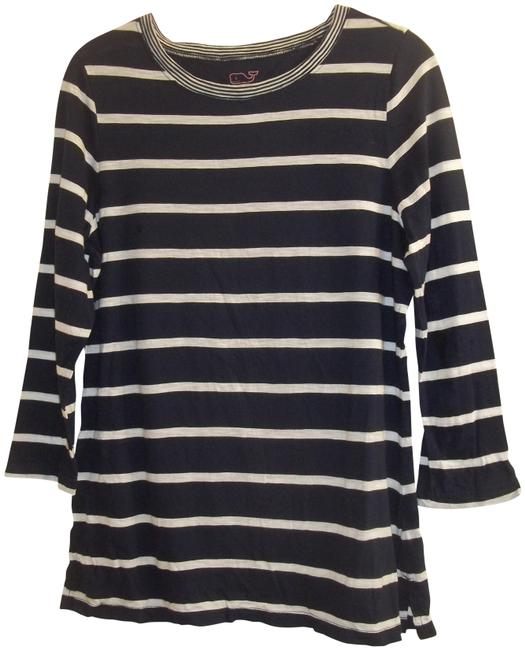 Vineyard Vines Longsleeve Striped Light Casual Stretchy T Shirt royal blue white Image 0