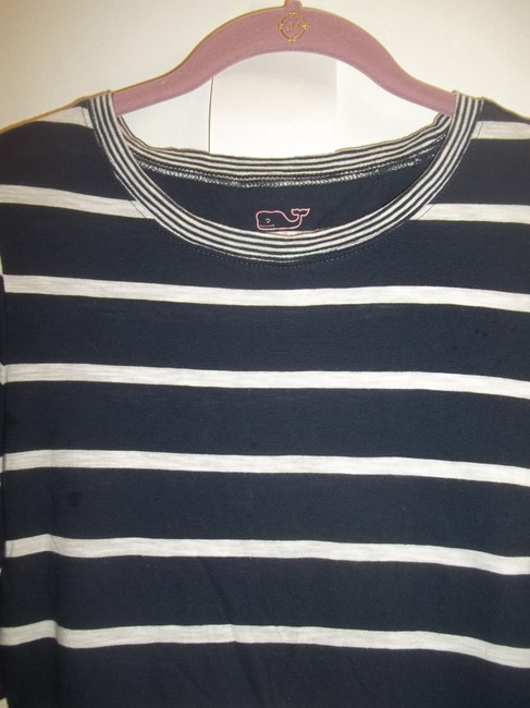 Vineyard Vines Longsleeve Striped Light Casual Stretchy T Shirt royal blue white Image 4