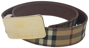 Burberry Tan, red multicolor Burberry Nova Check monogram belt
