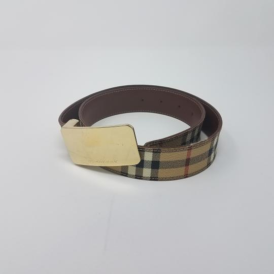 Burberry Tan, red multicolor Burberry Nova Check monogram belt Image 1