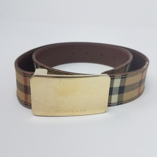 Burberry Tan, red multicolor Burberry Nova Check monogram belt Image 2